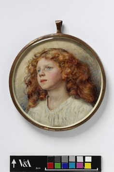 """Red haired girl,"" portrait miniature by Louie Burrell (b.1873 - d.1971). Early 20th century watercolour on ivory. From the collection of the Victoria and Albert Museum, London, England."