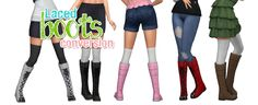 """simlaughlove: """" Tall Laced Boots - A conversion of the child laced boots from Get Together. Comes in EA's 9 original colors + a few with kitty heads inspired by T. Maxis, Baby Boy Fashion, Kids Fashion, Sims 4 Get Together, Sims 4 Children, Sims 4 Mm Cc, Cat Shoes, Sims 4 Clothing, Sims 4 Cc Finds"""