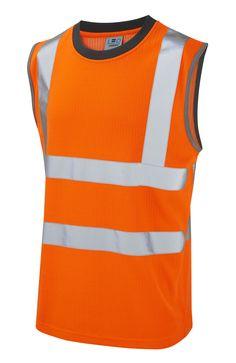 Leo Hi Vis Reflective Safety PPE Sleeveless Vest Top XL, 2XL, 3XL, 4XL, 5XL, 6XL Orange