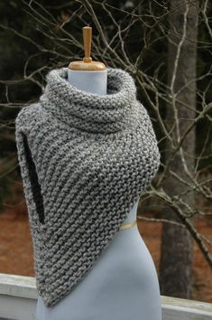 Katniss Cowl Huntress Vest Hand Knit in Neutral Gray Mar | PhylPhil - Knitting on ArtFire
