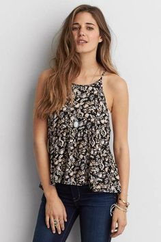 AEO Peplum Cami  by AEO | Go with the flow in this swing tank, with crochet details for a romantic flair.  Shop the AEO Peplum Cami  and check out more at AE.com.