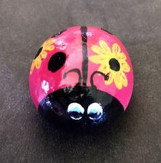 Pierre de jardin coccinelle fleuri peint Rock Collectoble &