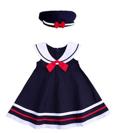 Navy Sailor Dress for Babies and Little Girls with Red Trim and Hat