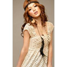 Korean fashion square cut neckline style crochet dress asian fashion