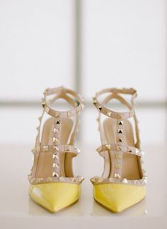 yellow pointy toe studded ankle strap heels
