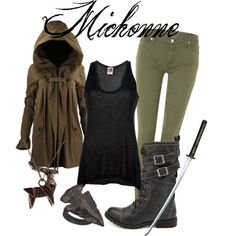 Inspired by Danai Gurira as Michonne on The Walking Dead. The Walking Dead, Michonne Walking Dead, Walking Dead Clothes, Walking Dead Costumes, Zombie Apocalypse Outfit, Apocalypse Fashion, Apocalypse Survivor, Apocalypse Aesthetic, Michonne Costume