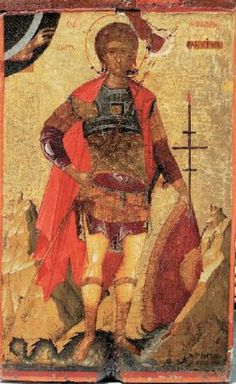 """The saints full name is """"St. Phanourios the Great & Newly Appeared of Rhodes."""" Like St. Anthony in Catholicism, he is the patron for finding lost items. Byzantine Art, Byzantine Icons, Religious Images, Religious Icons, Saints And Soldiers, Orthodox Catholic, Religious Paintings, Art Icon, Saint George"""