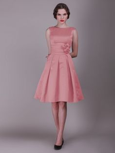 Vintage Bridesmaid Dress with Pleated Skirt and Rose Details