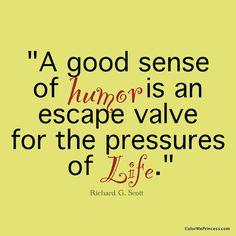 Sense of humor Is a good escape valve for the pressures of life. Richard G. Scott