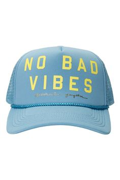 Radiate positivevibesin your new favorite trucker hat, featuring a 'No Bad Vibes' graphic.