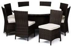 Reef Rattan Capri 9 Pc Round Dining Set - Chocolate Rattan / Beige Cushions tropical-patio-furniture-and-outdoor-furniture