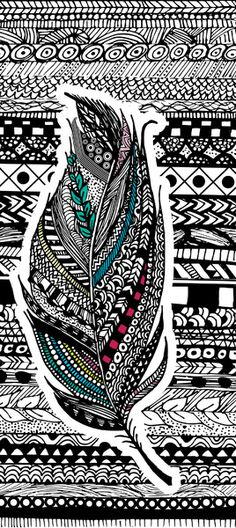 Aztec Feather. Art Print by GoldenFoxDesigns | Society6 Aztec Phone Wallpaper, Emoji Wallpaper, Feather Wallpaper, Feather Design, Feather Art, Tribal Feather, Aztec Drawing, Feather Background, Zentangle Patterns