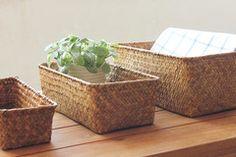 |风物札记| 海草手工编收纳筐篮子餐桌面小物收纳盒