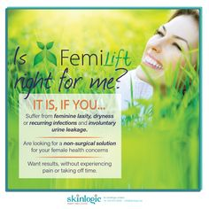 IS FEMILIFT® RIGHT FOR ME? IT IS, IF YOU... 1. Suffer from feminine laxity, dryness or recurring infections and involuntary urine leakage. 2. Are looking for a non-surgical solution for your female health concerns 3. Want results, without experiencing pain or taking off time. Contact us on 044 873 6558 for your appointment #SkinlogicSA #SkinHealth #Skin #Inspiration #Weightloss #Inspirational #beautiful #beauty #aesthetics