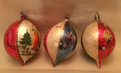 Mercury Glass Christmas Ornaments Balls Set of 3 Hand Painted Floral Tree VTG