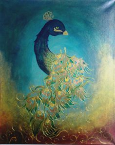 Golden Dust - An acrylic painting of a peacock done on a 20 X 16 X 0.5 inch canvas. Available on ETSY.