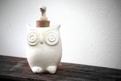 WHITE owl soap dispenser handmade pottery by claylicious on Etsy, $35.00