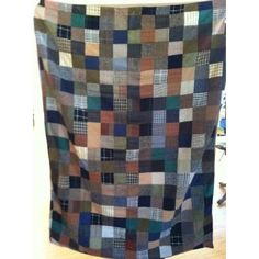 Tweed patchwork blanket (use thrift shop men's jackets, line with solid flannel flat sheet).