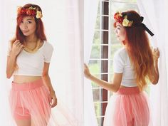 Il Fiore Floral Wreath, Bubbles Spikey Necklace, Topshop Crop Top, Fashionarmyph Tulle Skirt
