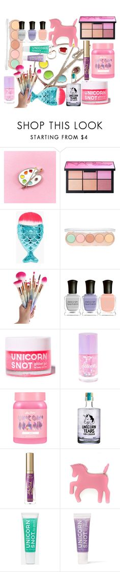 """unicorn makeup"" by samy-lady ❤ liked on Polyvore featuring beauty, NARS Cosmetics, Boohoo, Forever 21, Deborah Lippmann, claire's, Lime Crime, Too Faced Cosmetics, WithChic and FCTRY"