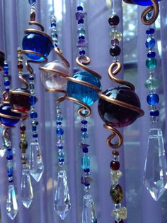 The Enchantment Goddesss Healing Copper Hanging Crystals Wrapped Glass Orb Hard Temper Raw Copper Copper Hanging Decorative Crystal Stone Beads, Glass Beads, Glass Bead Crafts, Glass Marbles, Mobiles, Carillons Diy, Bijoux Fil Aluminium, Diy Wind Chimes, Crystal Wind Chimes