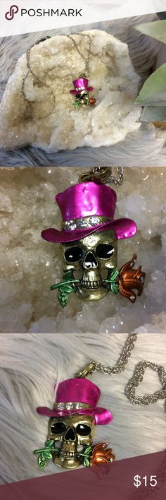 """Skull wearing a top hat and rose necklace. Skull wearing a top hat and rose necklace. Embellished with high-quality rhinestones 28"""". Open to offers :)  B013 Jewelry Necklaces"""