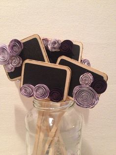 Miniature chalk-board signs, purple, for wedding table numbers, escort cards, dessert/food markers
