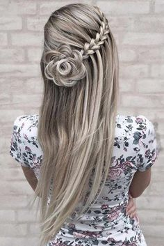 Beautiful Flower Long Wedding & Prom Hairstyle Ideas 2