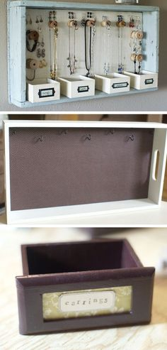 Upcycled Wooden Tray | Click Pic for 18 DIY Jewelry Storage Ideas for Small Bedrooms | Dollar Store Organizing Ideas for the Home