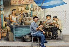 Enjoying the Laksa and Zui Kueh at Pasar Tiong Bahru - The Story of YC's Tiong Bahru Murals Human Figure Sketches, Human Figure Drawing, Figure Sketching, Art Drawings For Kids, Pencil Art Drawings, Drawing For Kids, Diwali Drawing, Composition Painting, Perspective Sketch