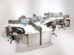 This is a really cool way to have a configuration for six desks. The desks that are towards the edge always seem to not be able to collaborate well. Putting them like this makes it so people can more easily talk to each other.