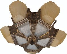 """Antique Art Deco Hanging Slip Shade Chandelier Lamp w/ 5 frosted glass shades w/ bulbs, all original, c1910-20 - approx. 12""""h"""