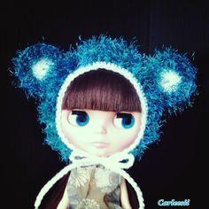 Carleesi - crocheted fuzzy bear cub hat for a Blythe doll