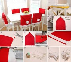 DIY - Santa Hat Chair Back Covers! A little late for but there is always next year! So darn cute! Noel Christmas, Diy Christmas Gifts, Christmas Projects, Christmas Ideas, Christmas Photos, Santa Christmas, Homemade Christmas, Christmas Chair Covers, Chair Back Covers