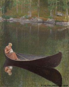 Nainen veneessä Pekka Halonen [oil on canvas] Ateneumin taidemuseo, Helsinki Nordic Art, Scandinavian Art, Landscape Art, Landscape Paintings, Landscapes, Moritz Von Schwind, Knit Art, Chur, Art Plastique