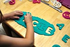 Word and letter recognition for pre-readers...Play-doh puzzles