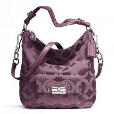 92728a444ce Coach Kristin Op Art Sateen Hobo Purse 23742 Raisin Purple Cheap Coach  Handbags, Cheap Coach