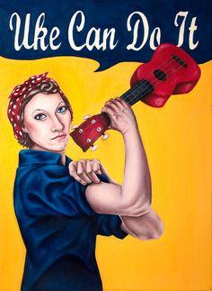 Items similar to Original Oil Painting - Uke Can Do It x on Etsy Ukulele Art, Cool Ukulele, Ukulele Chords, Ukulele Songs, Amanda Palmer, Music Artwork, Rosie The Riveter, Music Humor, Mandolin