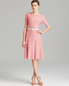Anne Klein Dress Elbow Sleeve Texture Knit Belted Swing in White (Zinnia/Camellia)