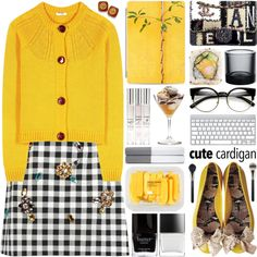 A fashion look from September 2016 featuring Miu Miu cardigans, Dolce&Gabbana mini skirts and Furla flats. Browse and shop related looks.