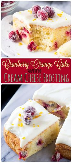 This cranberry orange cake with cream cheese frosting is bursting with holiday flavors. Perfectly moist with the softest cake crumb – the combination of sweet oranges and tart canberries makes it perfect for Christmas. ohsweetbasil.com