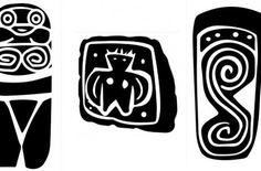 Sobre Género se encuentran tres símbolos de la cultura Valdivia.