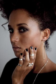 Long Silver & Bronze Reck Earrings | LZZR Jewelry, Inc.