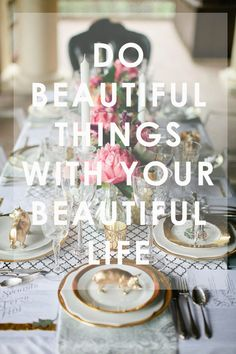 Do beautiful things with your beautiful life table settings, dinner parties, plate, floral designs, little animals, gold accents, tabl set, event styling, pig