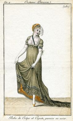 Costume parisien 1809. The design appears somewhat similar to that of the dancing dress worn by Henrietta in 1995's Persuasion adaptation.