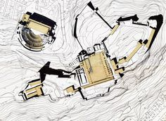 Teatro Romano and Castillo de Sagunto, Valencia Spain. Arquitectura. Dibujos. Plantas. Giorgio Grassi