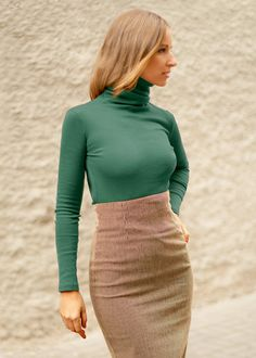 Fall sweater Long sleeve top Green sweater Polo neck by TOKKAstore, $55.00