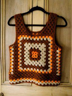 vintage women brown orange granny square crochet sweater vest (small)