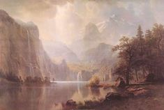 """A beautiful poster of the painting """"In the Mountains"""" by world-reknown landscape painter Albert Bierstadt! Need Poster Mounts. Albert Bierstadt, Fine Art Posters, Poster Prints, Art Prints, Mountain Art, Beautiful Posters, Landscaping Company, Landscape Paintings, Mountains"""