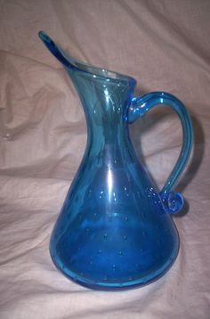 blenko glass blue pitcher